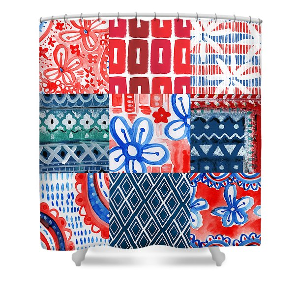 Boho Americana- Patchwork Painting Shower Curtain