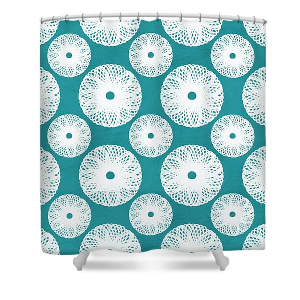 Boho Floral Blue And White Shower Curtain