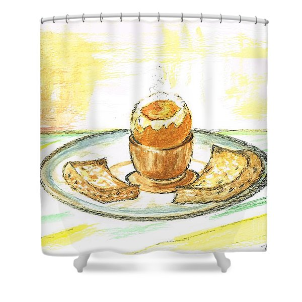 Boiled Egg And Toast For Breakfast Shower Curtain