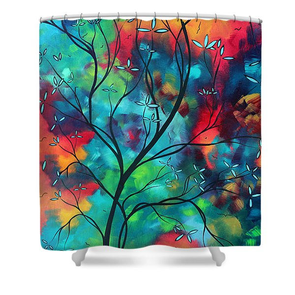 Bold Rich Colorful Landscape Painting Original Art Colored Inspiration By Madart Shower Curtain