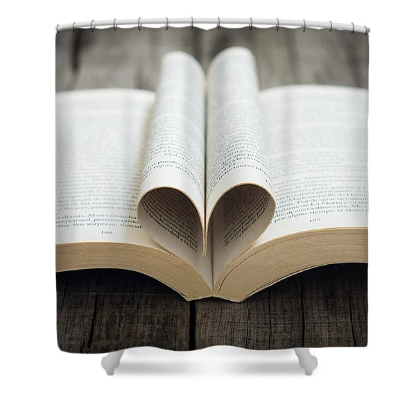 Book With Heart Shower Curtain