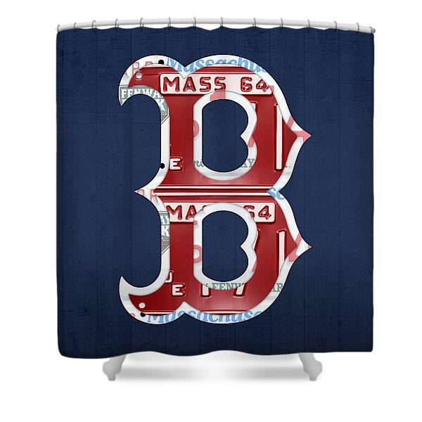 Boston Red Sox Logo Letter B Baseball Team Vintage License Plate Art Shower Curtain
