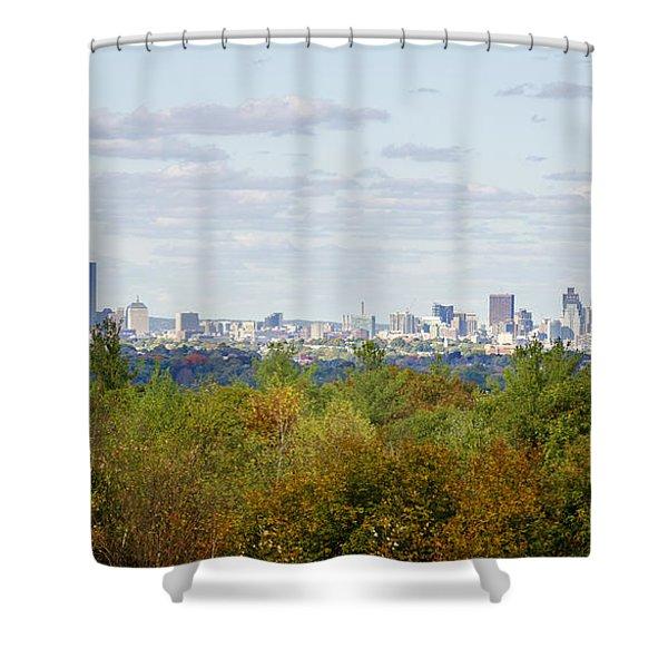 Boston Skyline In Autumn Shower Curtain
