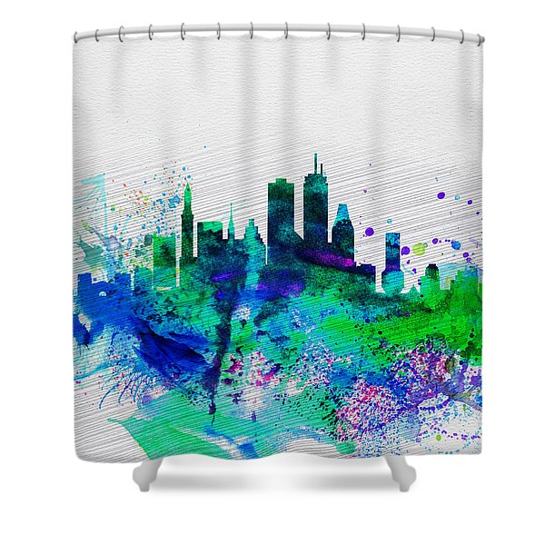 Boston Watercolor Skyline Shower Curtain