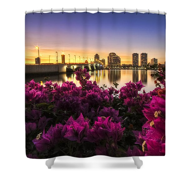 Bougainvillea On The West Palm Beach Waterway Shower Curtain