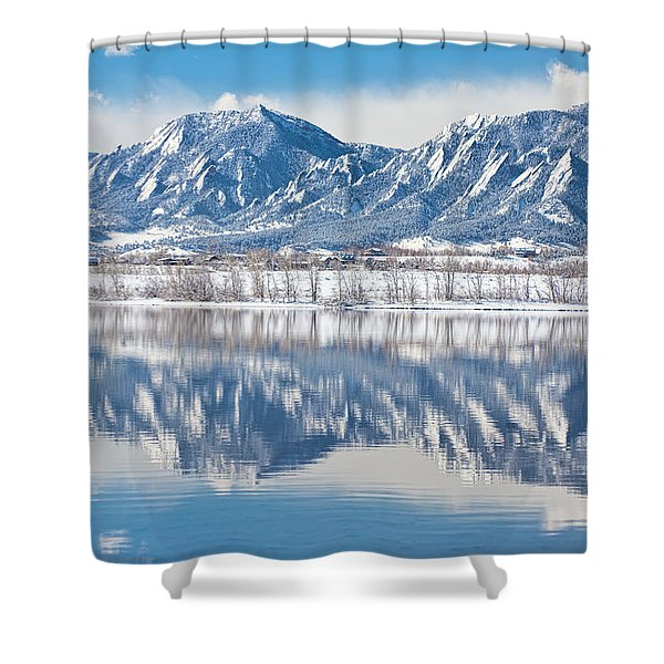 Boulder Reservoir Flatirons Reflections Boulder Colorado Shower Curtain