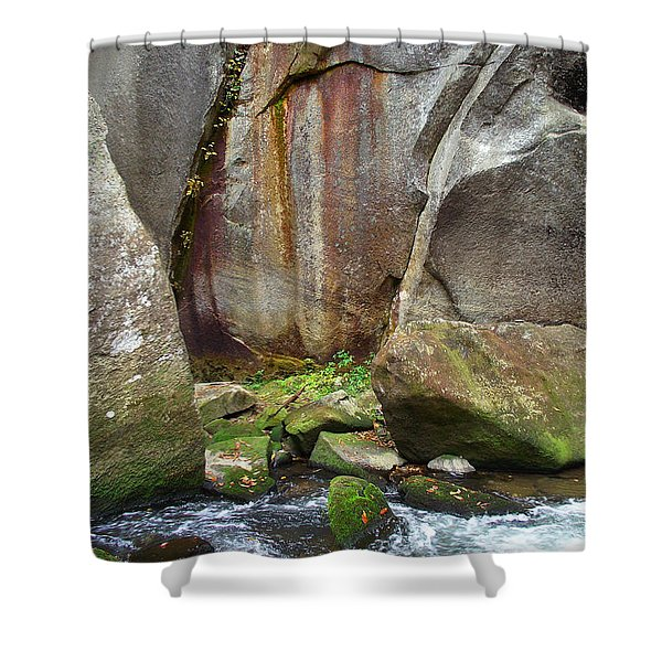 Boulders By The River Shower Curtain