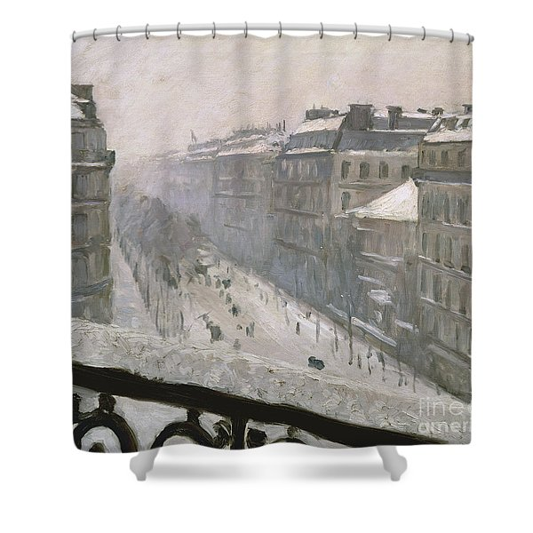 Boulevard Haussmann In The Snow Shower Curtain