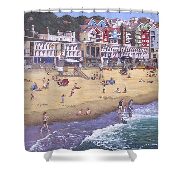 Bournemouth Boscombe Beach Sea Front Shower Curtain