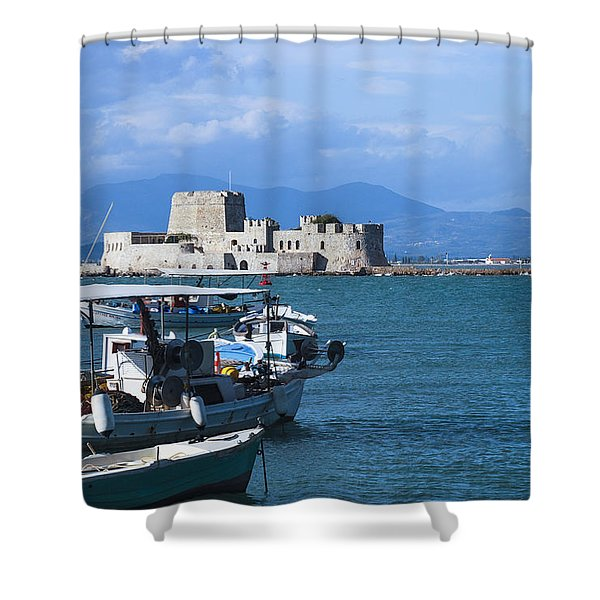 Bourtzi And Boats Shower Curtain