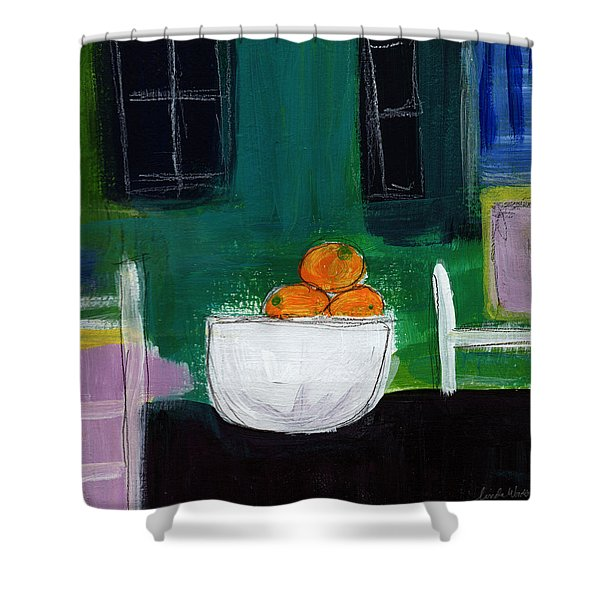 Bowl Of Oranges- Abstract Still Life Painting Shower Curtain
