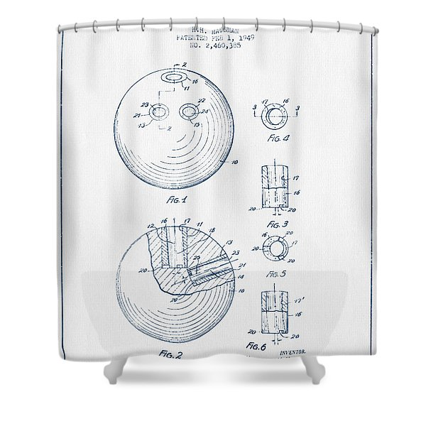 Bowling Ball Patent Drawing From 1949 - Blue Ink Shower Curtain