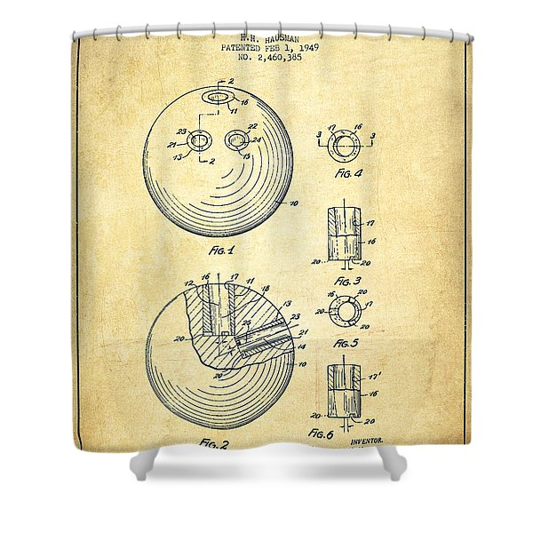 Bowling Ball Patent Drawing From 1949 - Vintage Shower Curtain