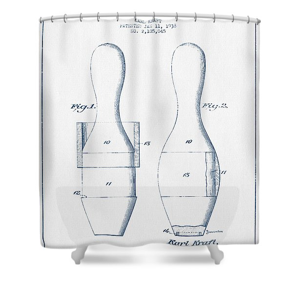 Bowling Pin Patent Drawing From 1938 - Blue Ink Shower Curtain