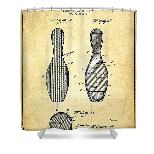 Bowling Pin Patent Drawing From 1939 -vintage Shower Curtain