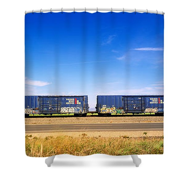 Boxcars Railroad Ca Shower Curtain