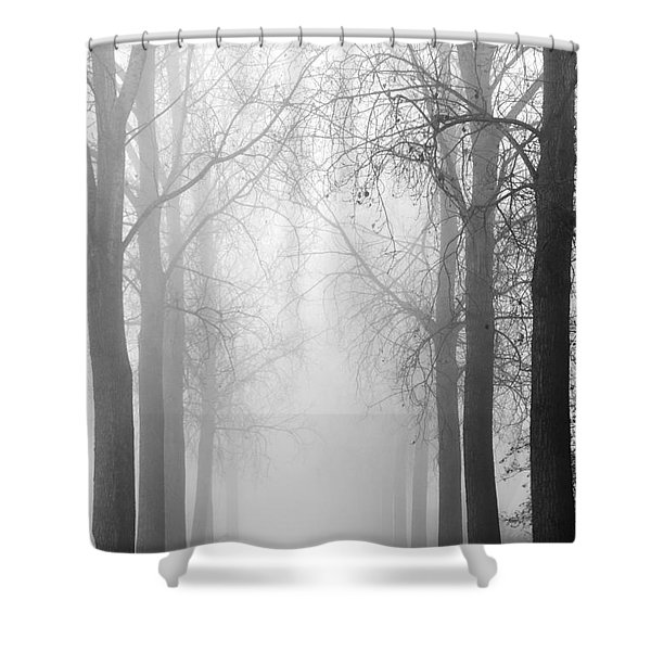 Boy In The Fog Shower Curtain