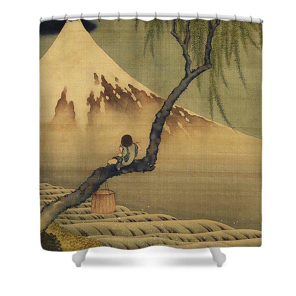 Boy Viewing Mount Fuji Shower Curtain