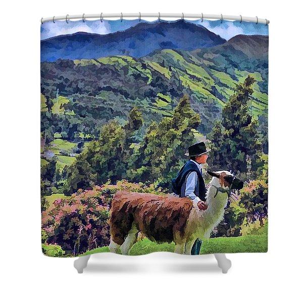 Boy With Llama  Shower Curtain