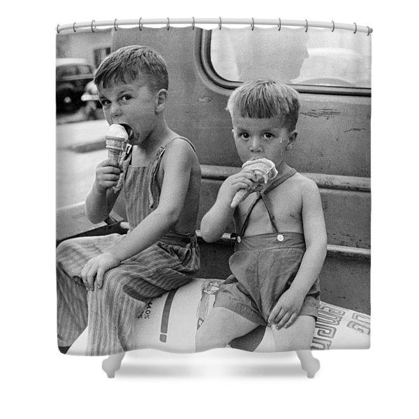 Boys Eating Ice Cream Cones Shower Curtain