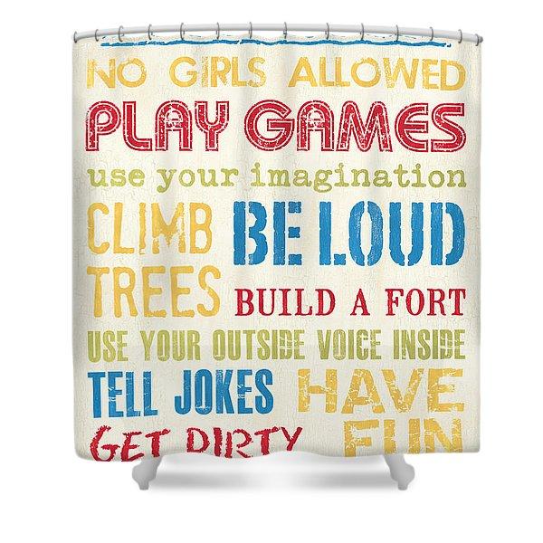 Boys Rules Shower Curtain
