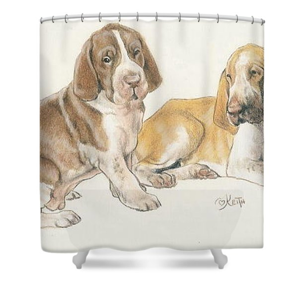 Bracco Italiano Puppies Shower Curtain