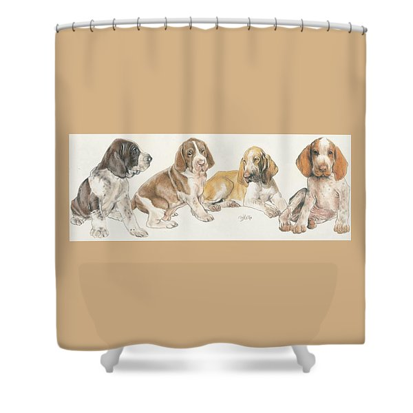 Shower Curtain featuring the mixed media Bracco Italiano Puppies by Barbara Keith