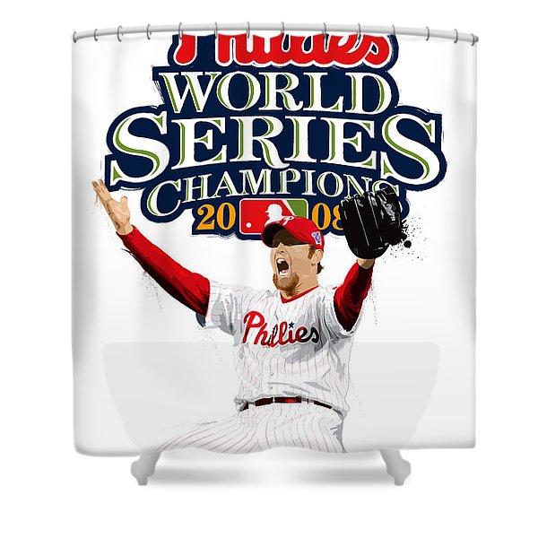Brad Lidge Ws Champs Logo Shower Curtain