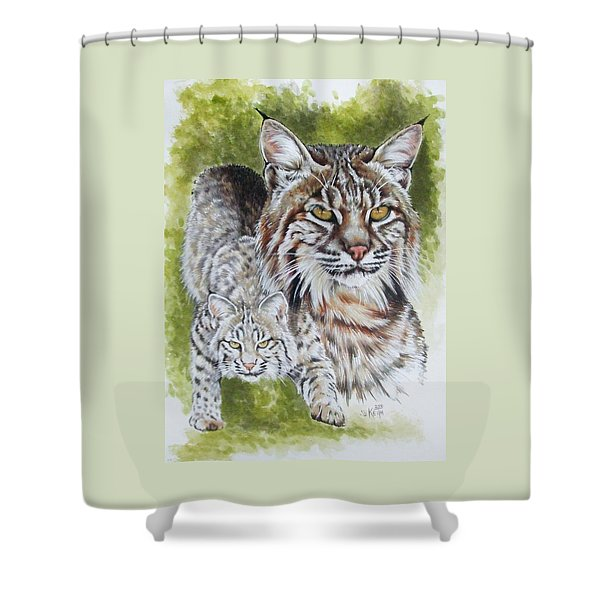 Shower Curtain featuring the mixed media Brassy by Barbara Keith
