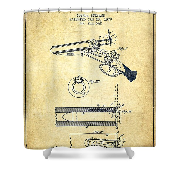Breech Loading Shotgun Patent Drawing From 1879 - Vintage Shower Curtain