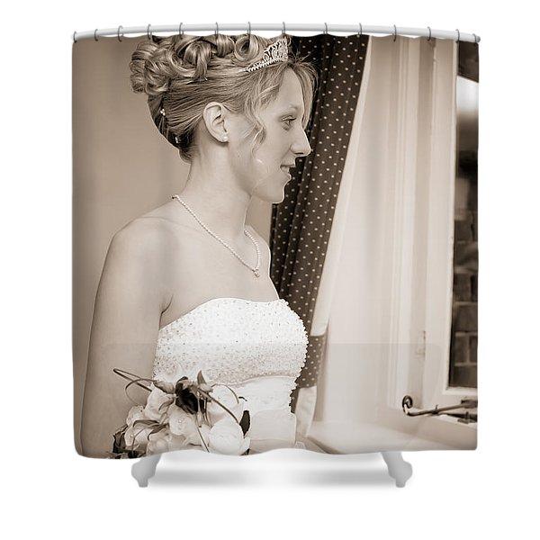 Bride Awaits Her Groom Shower Curtain