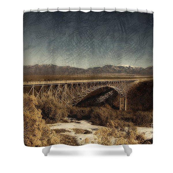 Bridge Across The Rio Grande River-arizona Shower Curtain