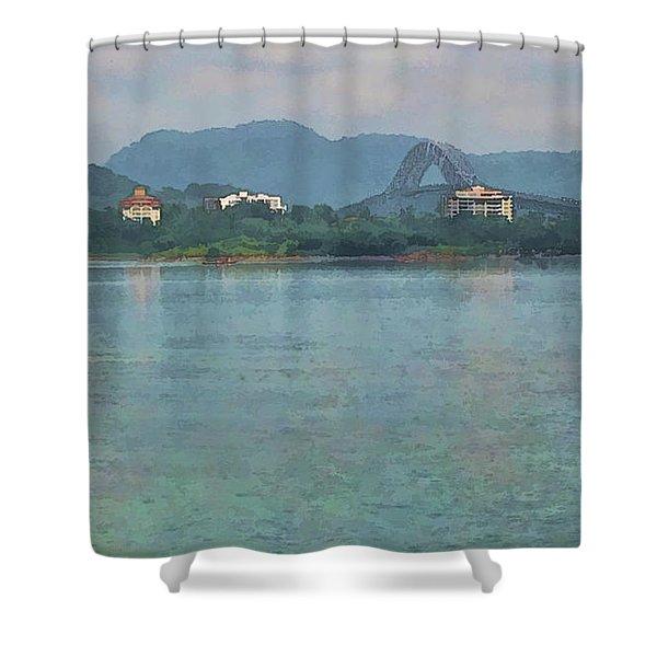 Bridge Of The Americas From Casco Viejo - Panama Shower Curtain