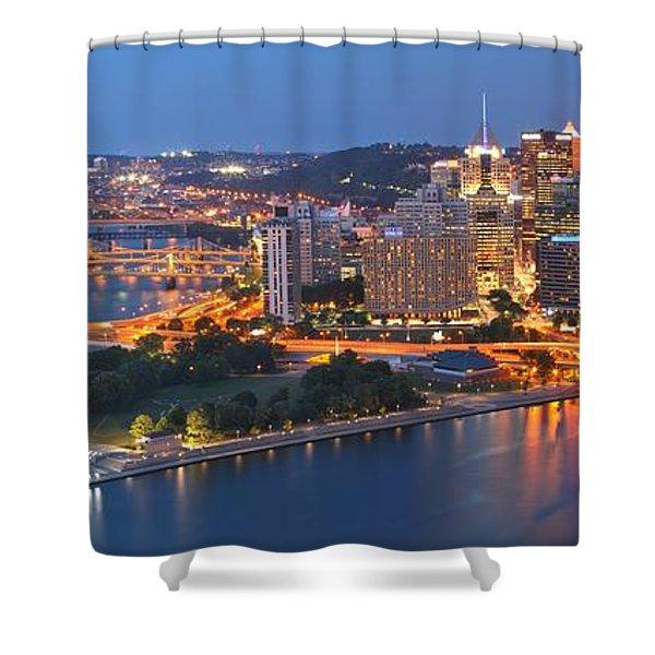 Bridge To The Pittsburgh Skyline Shower Curtain