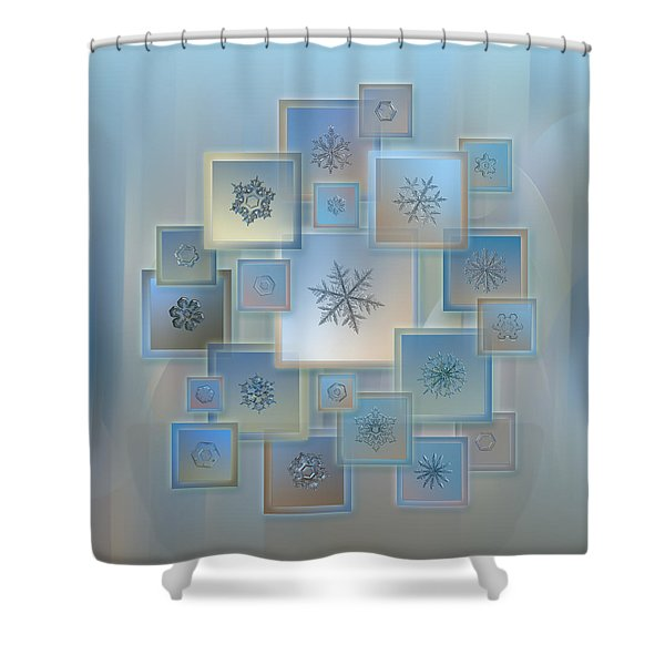 Snowflake Collage - Bright Crystals 2012-2014 Shower Curtain