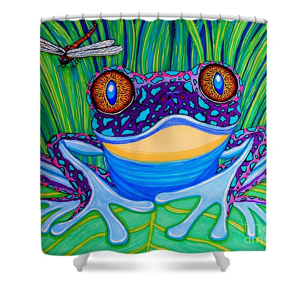 Bright Eyed Frog Shower Curtain