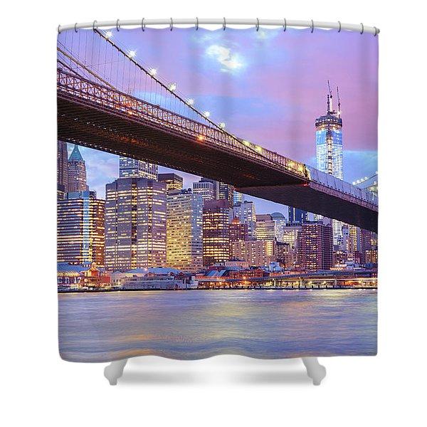 Brooklyn Bridge And New York City Skyscrapers Shower Curtain