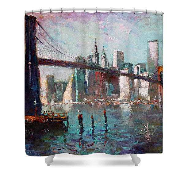 Brooklyn Bridge And Twin Towers Shower Curtain