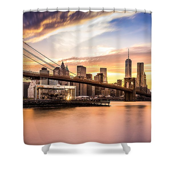 Brooklyn Bridge At Sunset  Shower Curtain