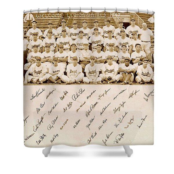 Brooklyn Dodgers Baseball Team Shower Curtain