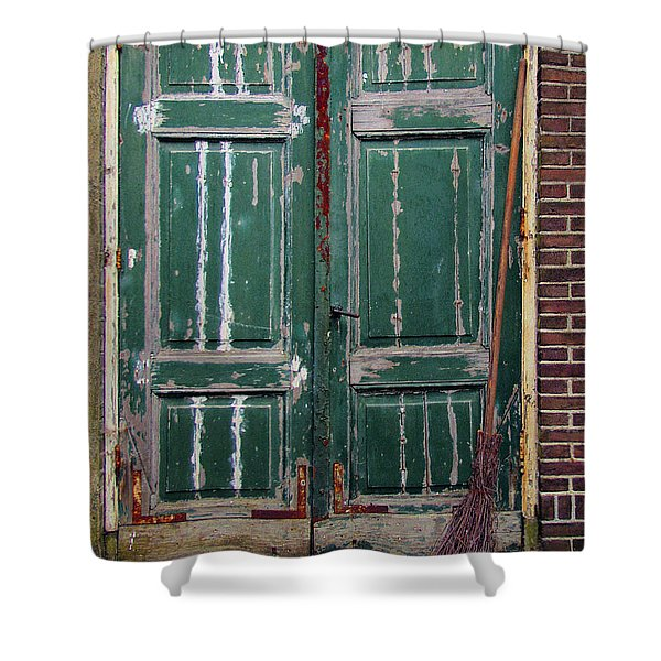 Broom Door Shower Curtain