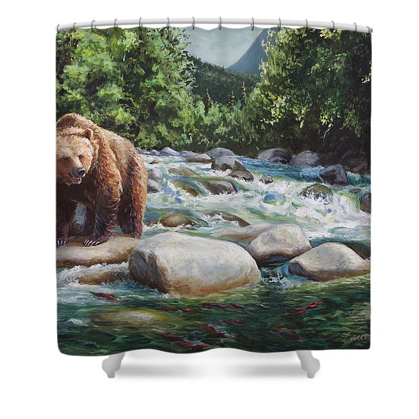 Brown Bear And Salmon On The River - Alaskan Wildlife Landscape Shower Curtain