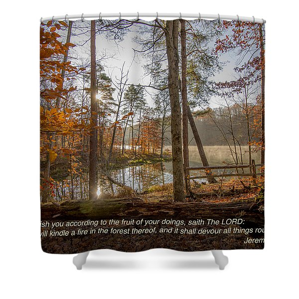 Brown County State Park Nashville Indiana Biblical Verse Ogle Lake Jeremiah  Shower Curtain