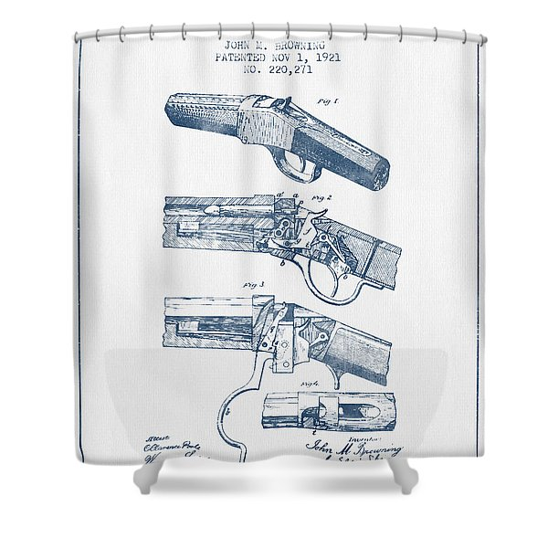 Browning Rifle Patent Drawing From 1921 -  Blue Ink Shower Curtain