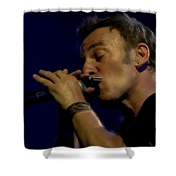 Bruce Springsteen Performing The River At Glastonbury In 2009 - 2 Shower Curtain