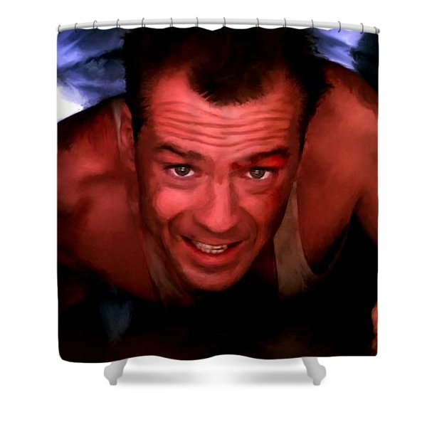 Bruce Willis In The Film Die Hard - John Mctiernan 1988 Shower Curtain