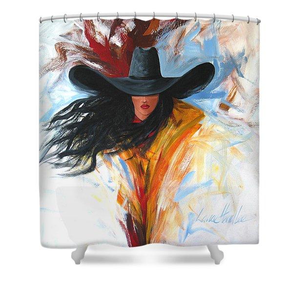 Brushstroke Cowgirl Shower Curtain