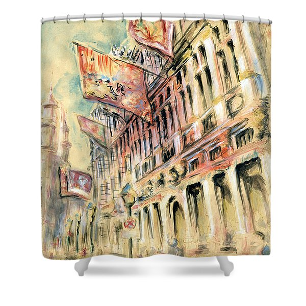 Brussels Grand Place - Watercolor Shower Curtain