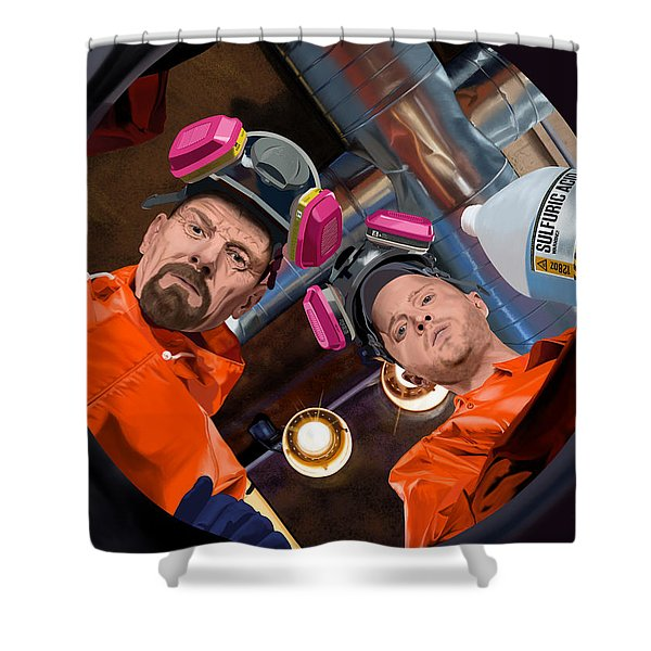 Bryan Cranston As Walter White And Aaron Paul As Jesse Pinkman @ Tv Serie Breaking Bad Shower Curtain