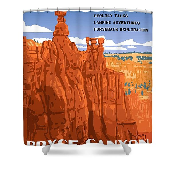 Bryce Canyon National Park Vintage Poster 2 Shower Curtain